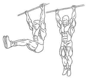 Hanging knee raises - lichaamsgewicht oefening voor buikspieren (abs)