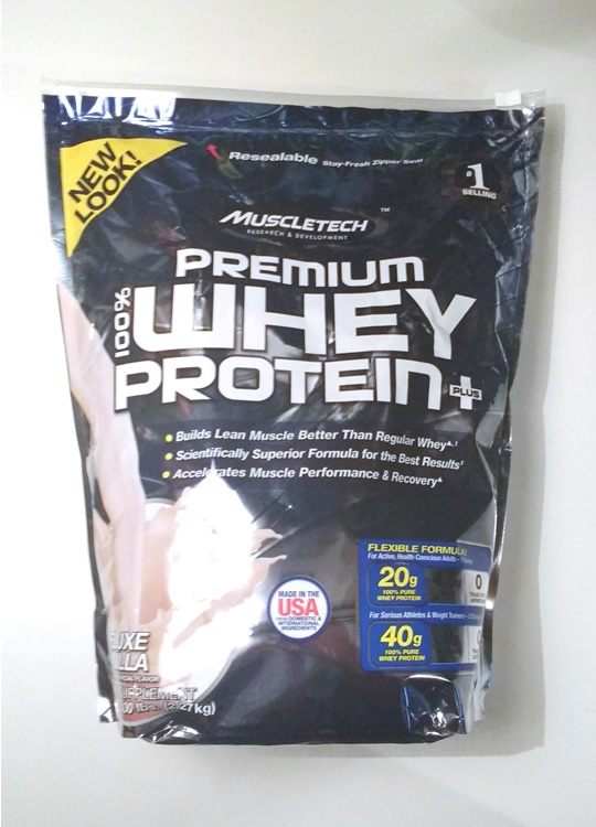 100% premium whey protein plus van Muscletech review