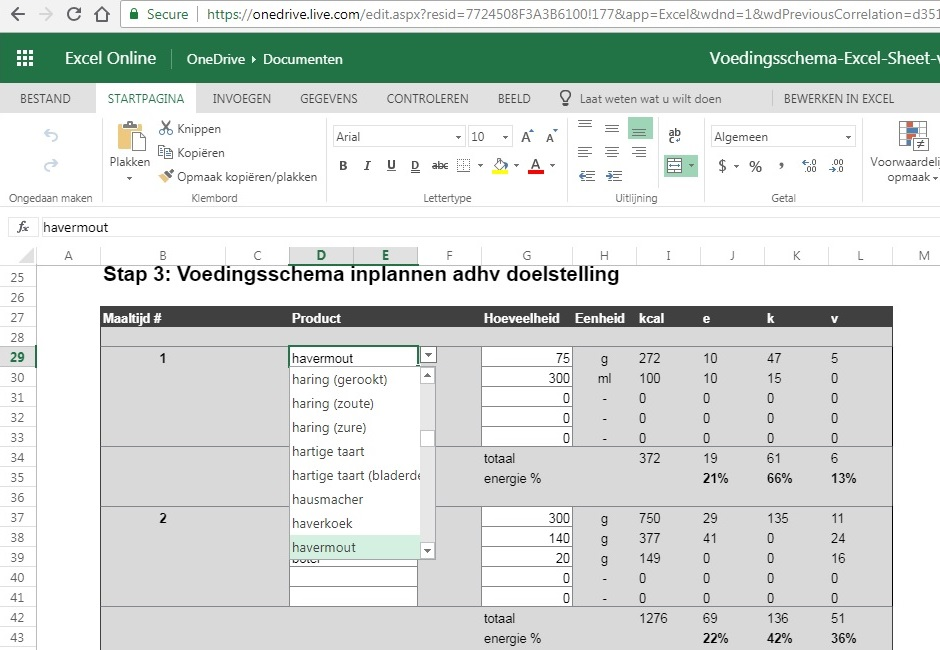 Voedingsschema Excel sheet in OneDrive
